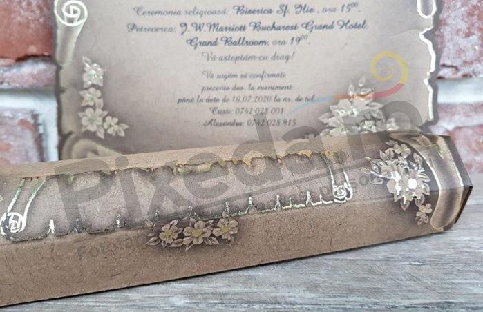 Imagine Invitatii nunta 5316 model papirus vintage