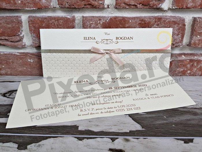 Imagine Invitatii nunta 5438 fundiță satin