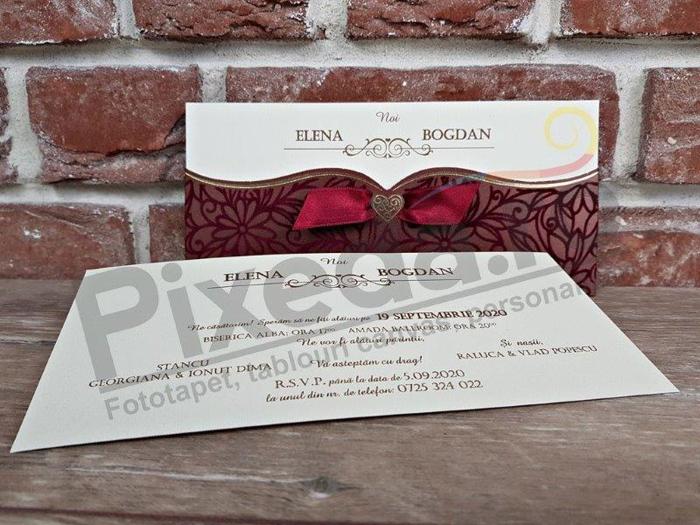 Imagine Invitatii nunta 5464 catifea vișinie flori