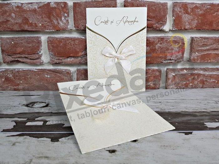 Imagine Invitatii nunta 5471 catifea și fundiță crem
