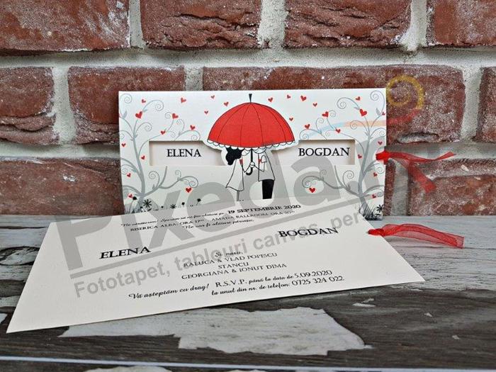 Imagine Invitatii nunta 5484 umbrelă roșie