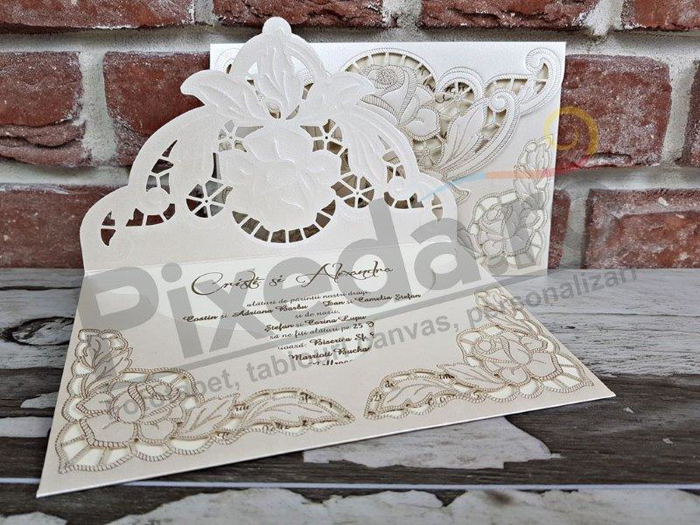 Imagine Invitatii nunta 5532 trandafir dantelat sidef