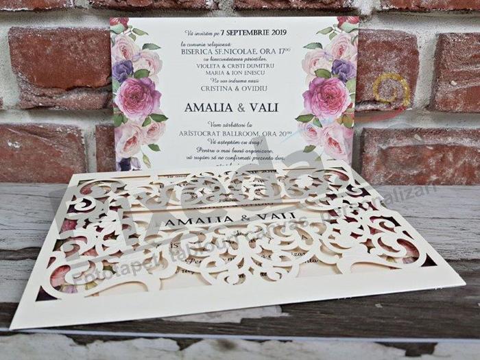 Imagine Invitatii nunta 5537 dantelă model artizanal