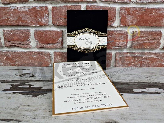 Imagine Invitatii nunta 5556 catifea neagră de lux