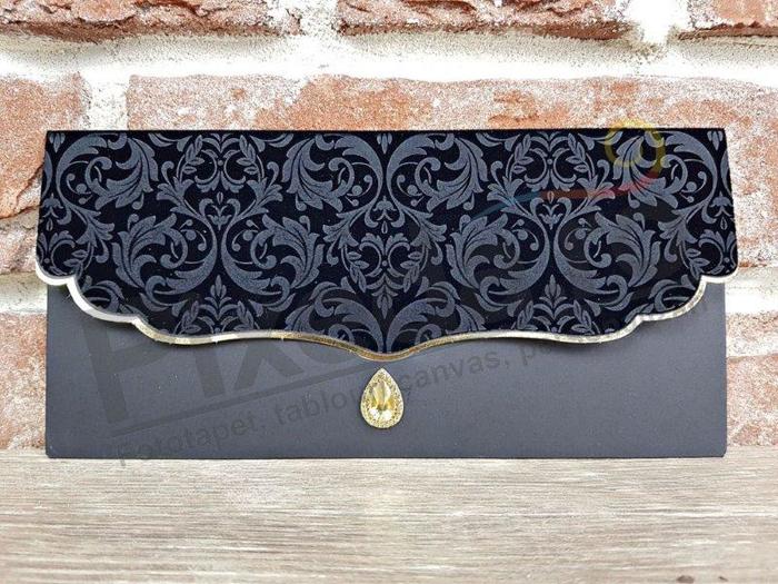 Imagine Invitatii nunta 5567 catifea neagră și bijuterie