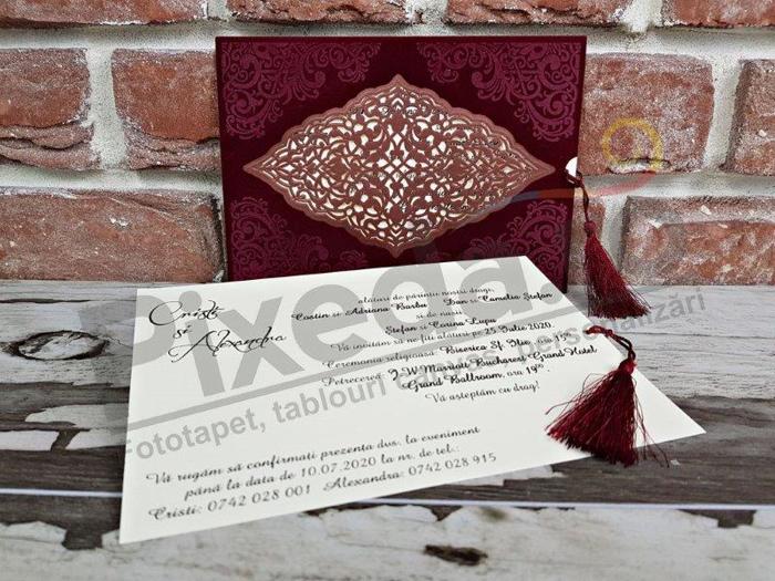 Imagine Invitatii nunta 5568 dantelă și catifea vișinie