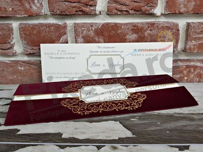Imagine Invitatii nunta 5573 catifea bordo