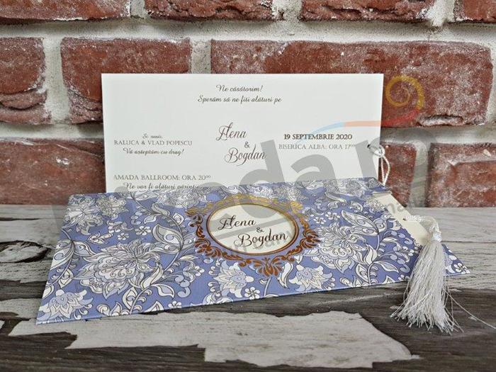 Imagine Invitatii nunta 5574 motive florale violet