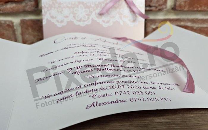 Imagine Invitatii nunta 5594 dantelă și panglică satinată