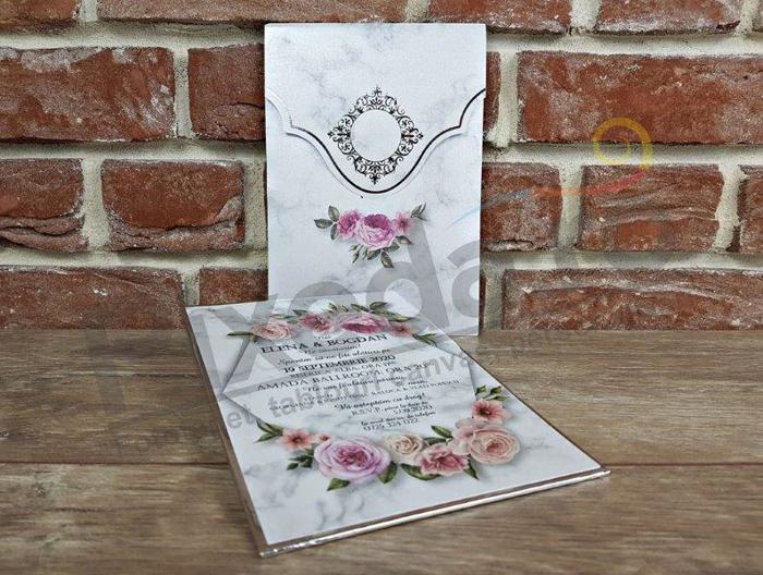 Imagine Invitatii nunta 5595 model marmură