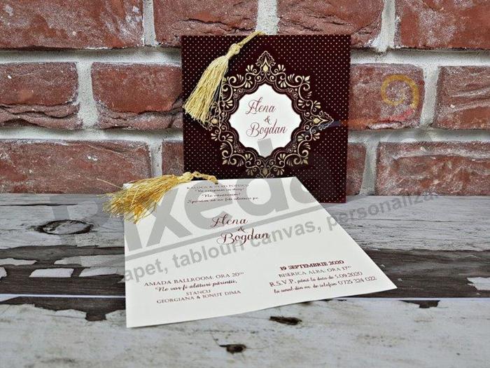 Imagine Invitatii nunta 5596 catifea bordo și buline aurii