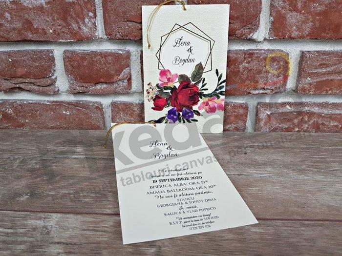 Imagine Invitatii nunta 5598 motive florale și șnur auriu