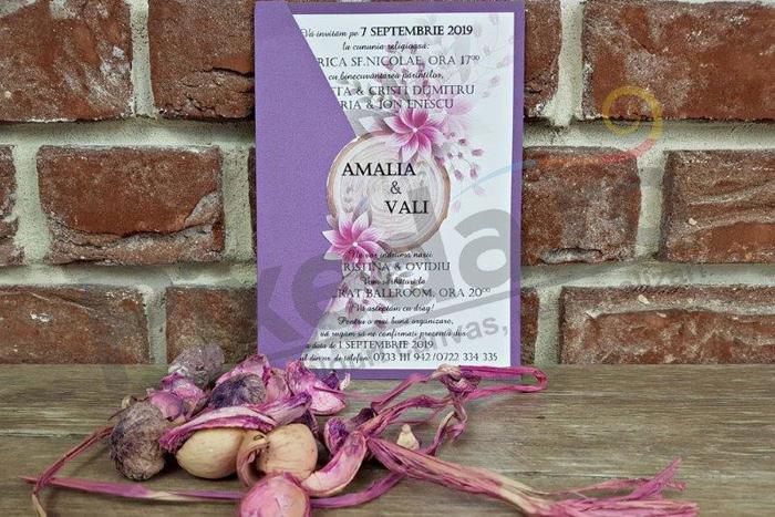 Imagine Invitatii nunta 5599 model butuc și flori