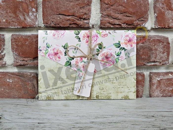 Imagine Invitatii nunta 5601 trandafiri roz și șnur vintage
