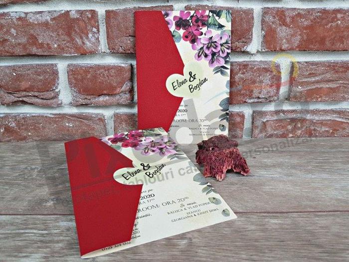 Imagine Invitatii nunta 5602 roșu aprins și flori