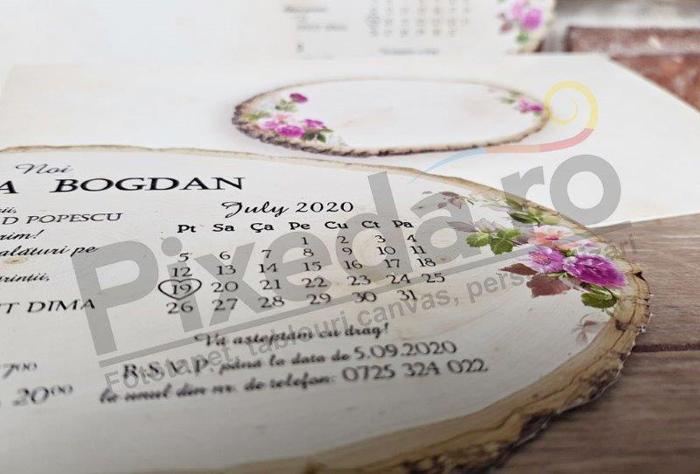 Imagine Invitatii nunta 5607 butuc de copac și calendar