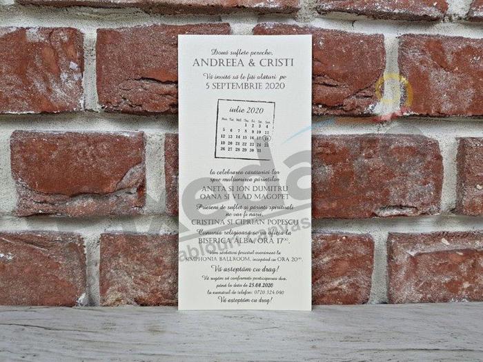Imagine Invitatii nunta 5609 calendar rustic