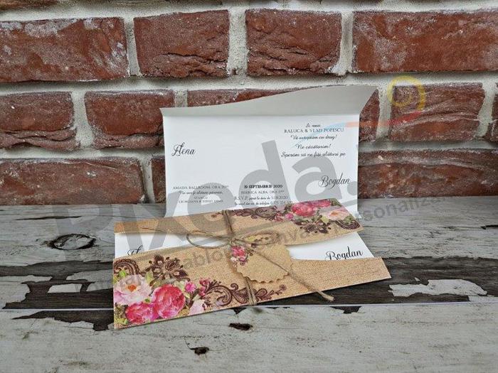 Imagine Invitatii nunta 5622 flori în stil rustic