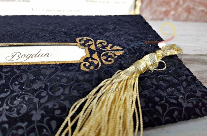Imagine Invitatii nunta 5626 inserții catifea neagră