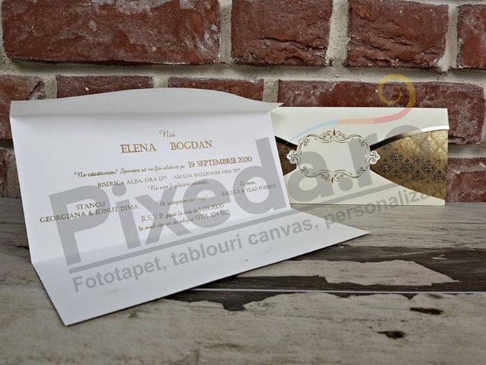 Imagine Invitatii nunta 5627 fundal baroc auriu