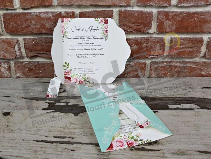 Imagine Invitatii nunta 5629 motive florale albastre