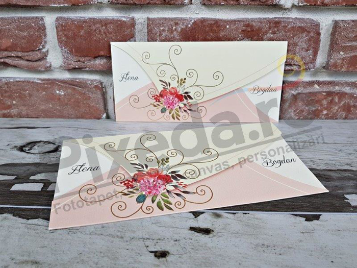 Imagine Invitatii nunta  5632 flori și ornamente aurii