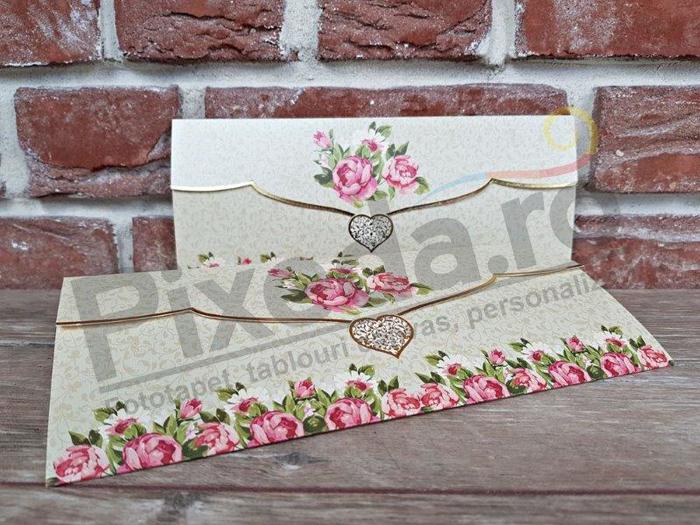 Imagine Invitatii nunta 5633 inimioară și trandafiri roz