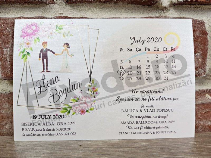 Imagine Invitatii nunta 5636 miri și calendar romantic