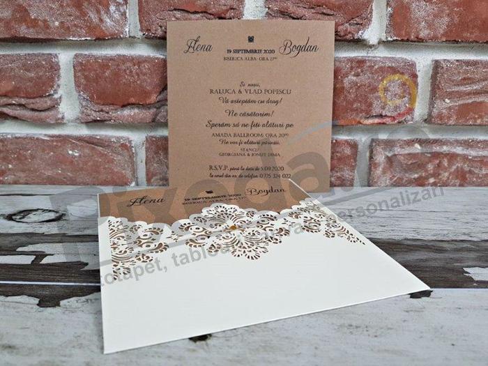 Imagine Invitatii nunta 5642 model dantelă