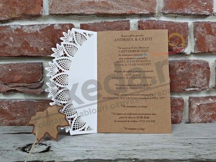Imagine Invitatii nunta 5644 dantelă și frunză