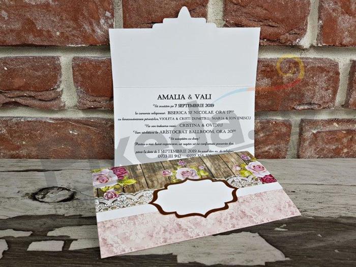Imagine Invitatii nunta 5645 stil rustic și flori