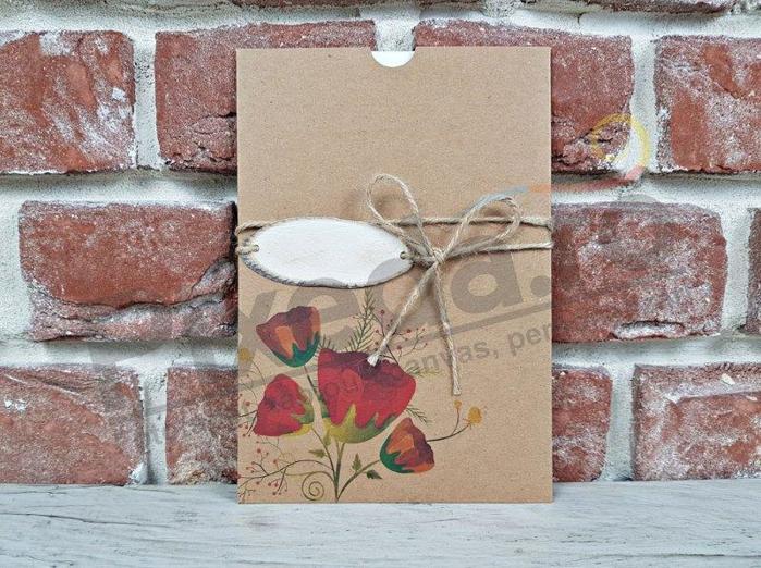 Imagine Invitatii nunta 5647 flori de mac