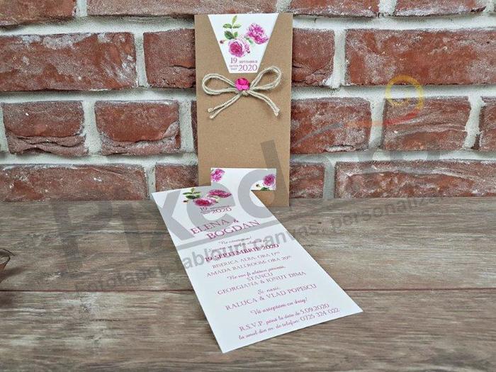 Imagine Invitatii nunta 5650 stil rustic cu bujori