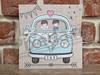 Imagine Invitatii nunta 5652 mașinuță albastră și miri