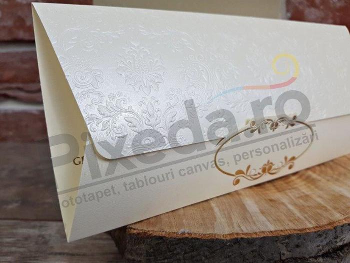 Imagine Invitatii nunta 5658 crem cu model elegant
