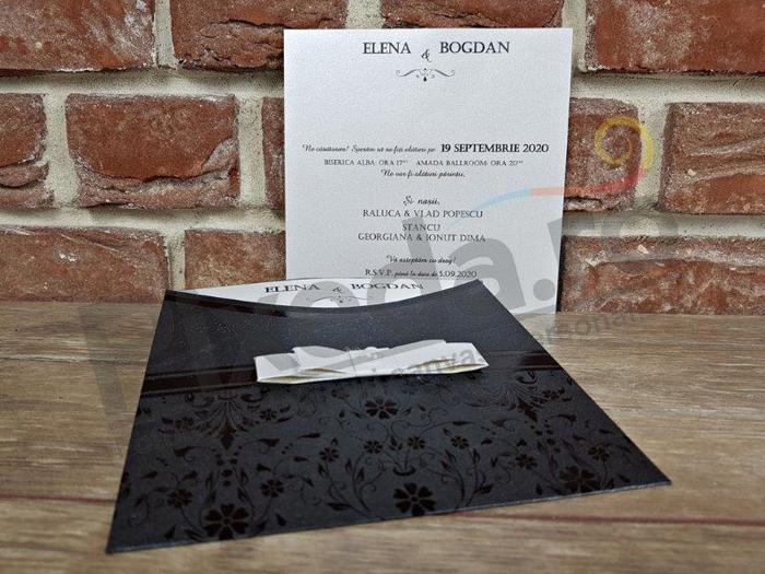 Imagine Invitatii nunta 5664 negru elegant și fundiță albă