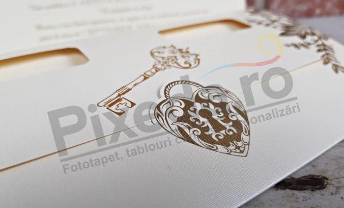 Imagine Invitatii nunta 5668 lacăt inimioară și cheiță