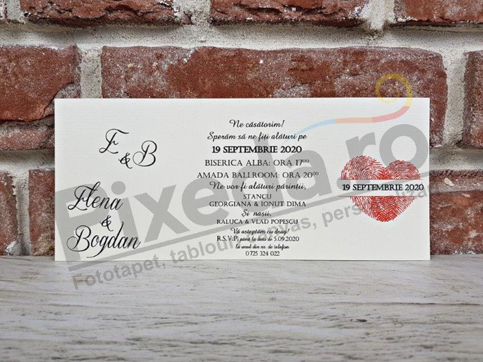 Imagine Invitatii nunta 5669 amprentă model inimă