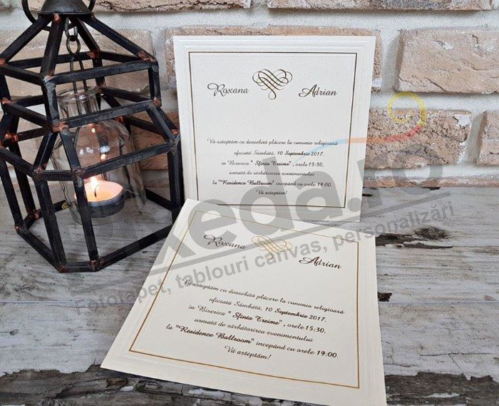 Imagine Invitatii nunta 2541 cu chenar auriu