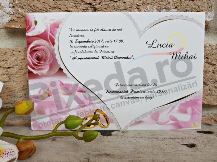 Imagine Invitatii nunta 2652 trandafiri și inimă