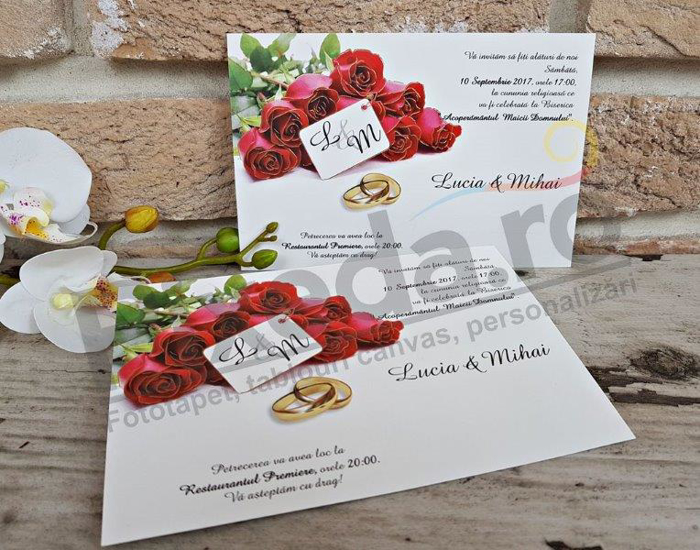 Imagine Invitatii nunta 2653 buchet de trandafiri roșii
