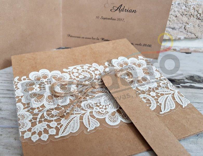 Imagine Invitatii nunta 2666 decupaj dantelă