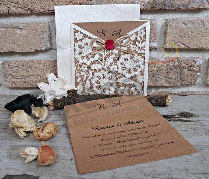 Imagine Invitatii nunta 2676 decupaj dantelă și trandafir roșu