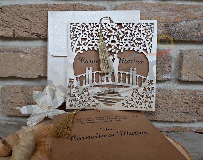 Imagine Invitatii nunta 2680 dantelă podul iubirii