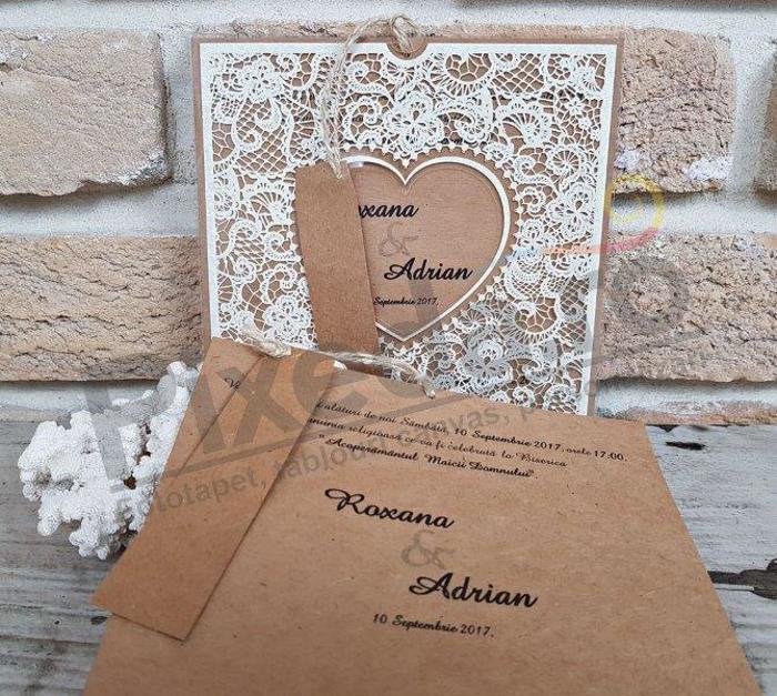Imagine Invitatii nunta 2686 dantelă și inimă