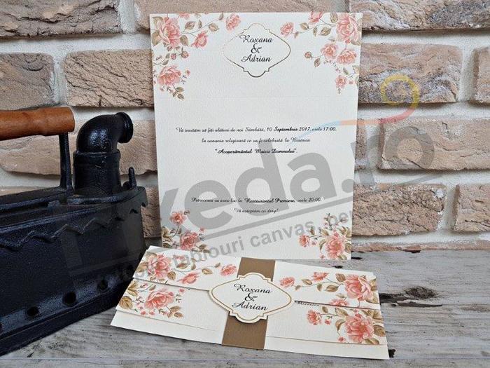 Imagine Invitatii nunta 2706 flori roz