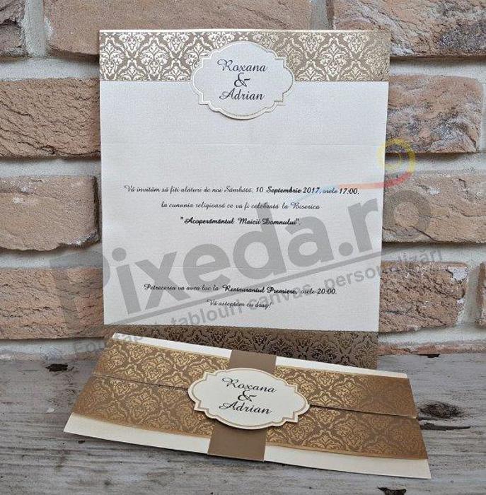 Imagine Invitatii nunta 2707 ornamente aurii