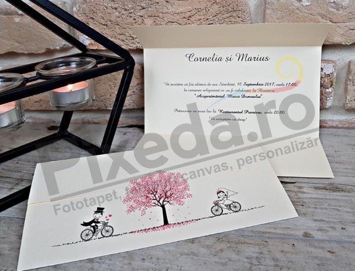 Imagine Invitatii nunta 2714 plimbare cu bicicleta