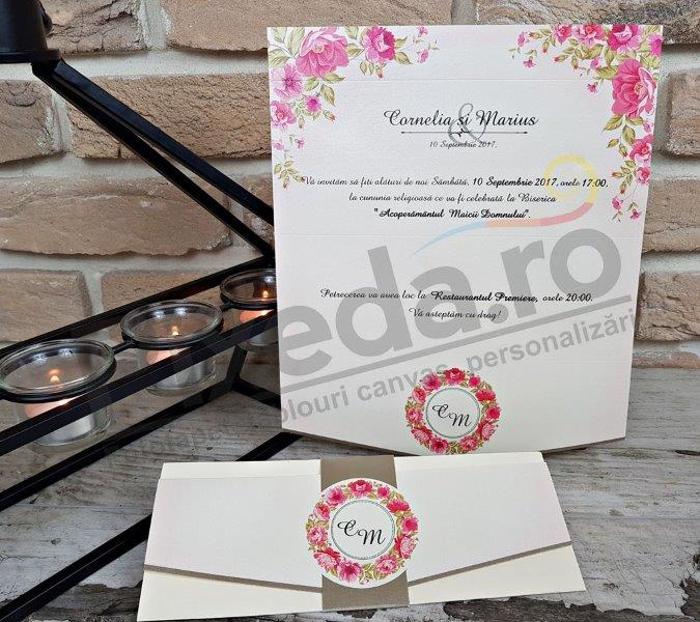 Imagine Invitatii nunta 2719 flori roz