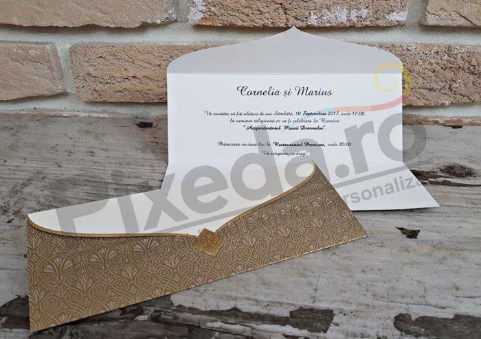 Imagine Invitatii nunta 2728 elemente artistice aurii